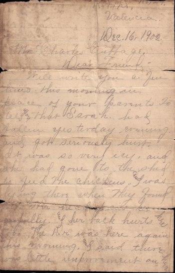 1902 Logan-Cubbage Letter p1