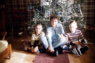 Mom, Cork, Jeff, Christmas 1953