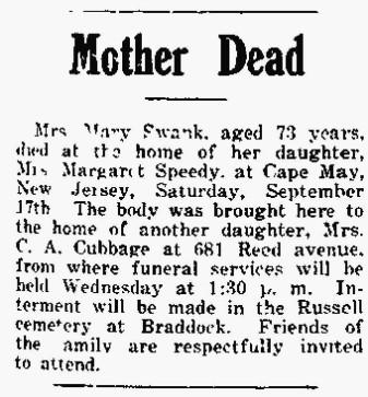 1927 Mary Swank obit