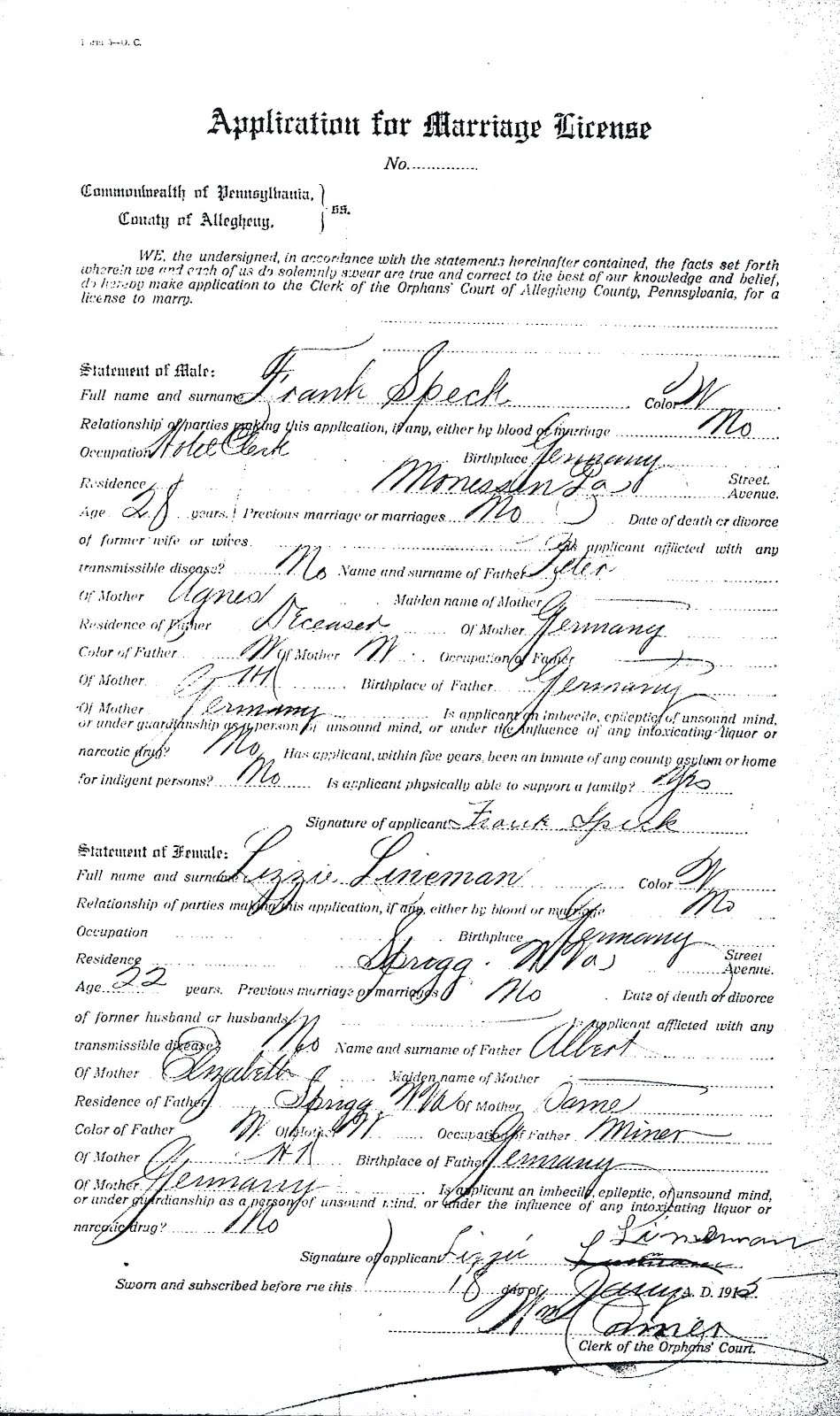 1915 Speck-Linneman Marriage
